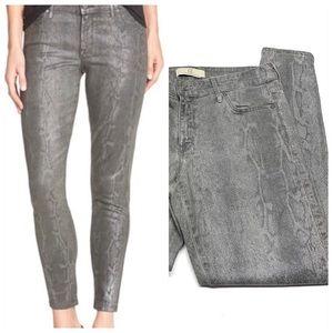 • CJ Snakeskin Wisdom Ankle Gray Skinny Jeans K36